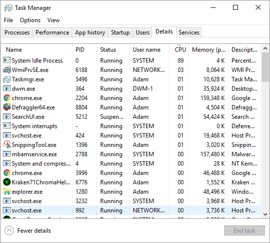 Task Manager - sorted by CPU usage